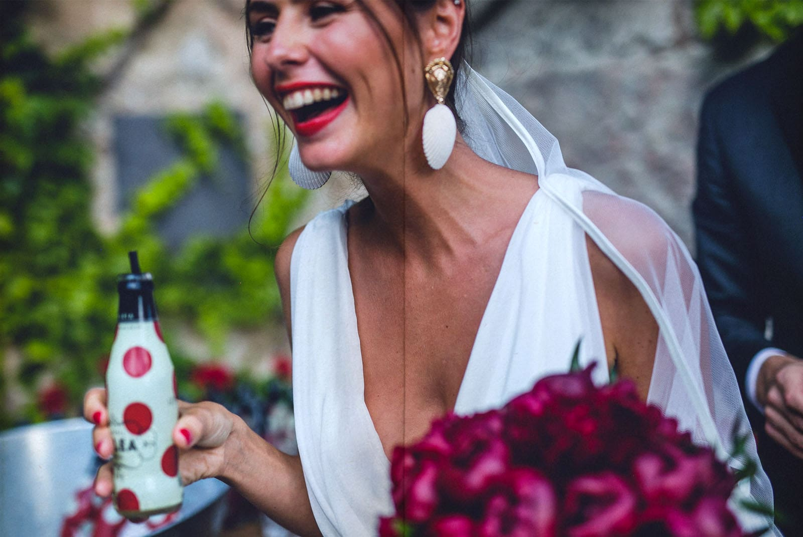 beautiful bride drinking
