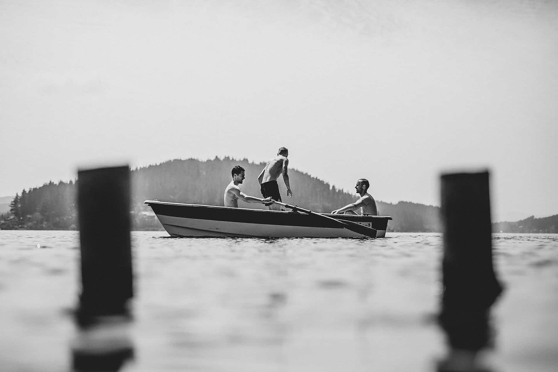 grooms in a boat