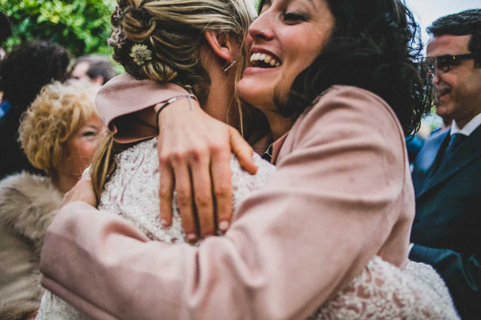 bride hug`s her friend
