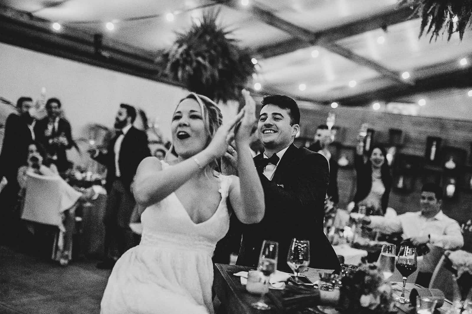 bride and groom screaming