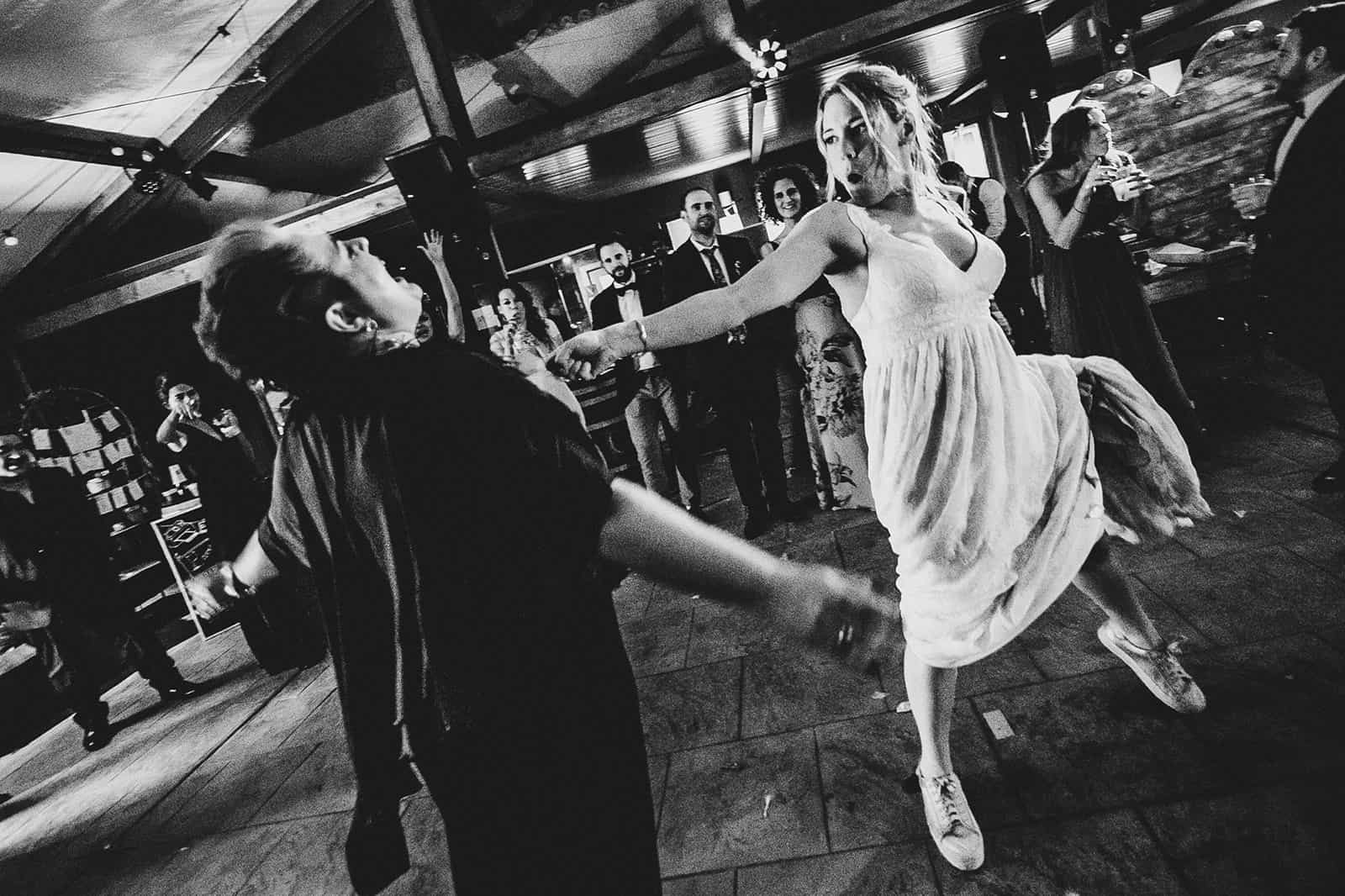 bride in barcelona dancing and singing