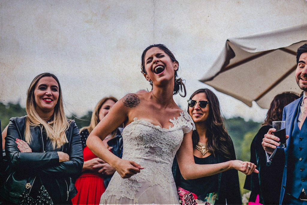 bride singing with open mouth