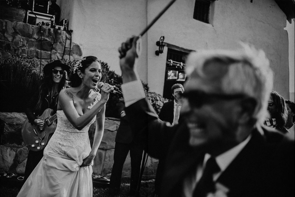 bride and her dad dancing with the band music