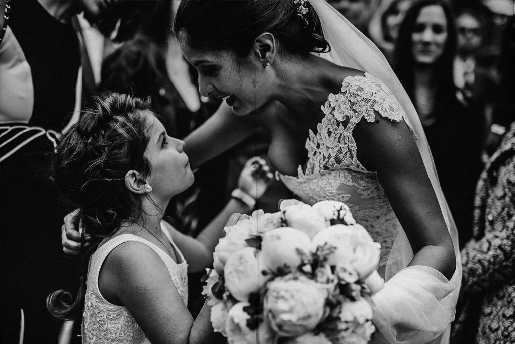bride kissing a kid