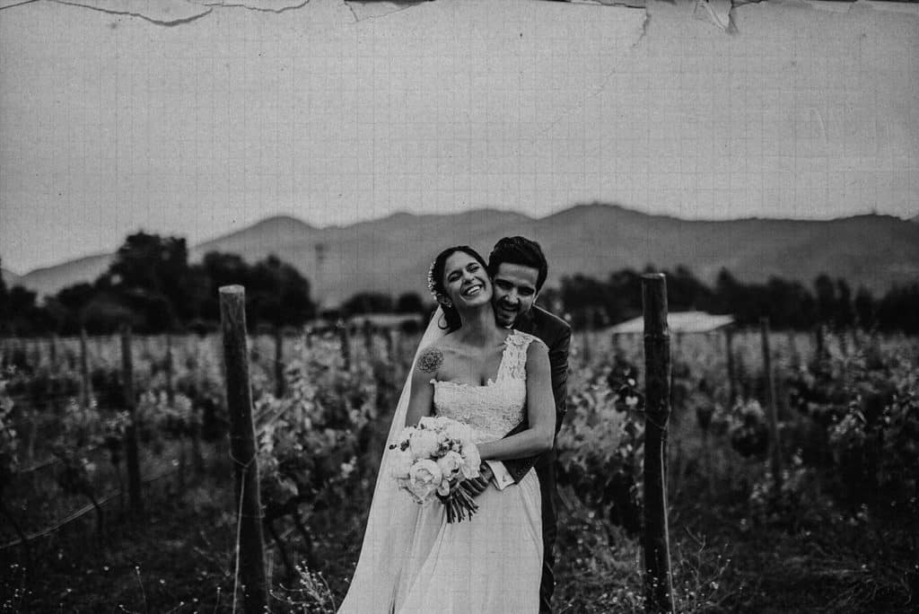 portrait of the couple in a vineyard