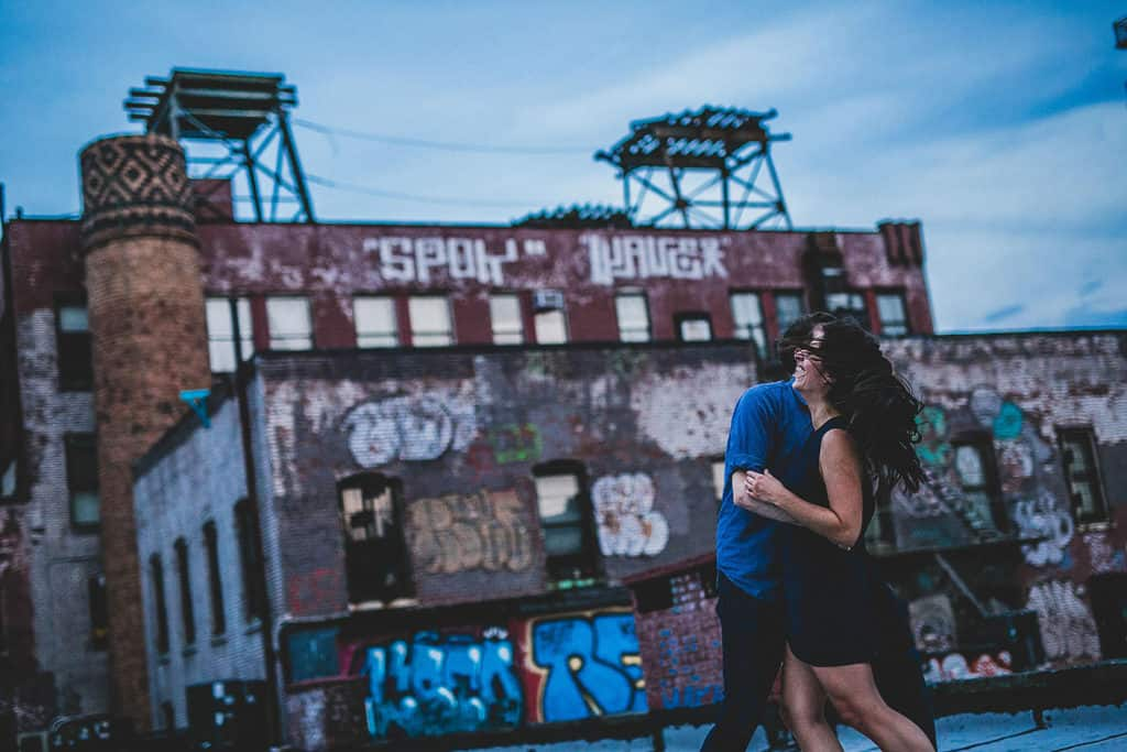 bride and groom dancing in a brooklyn rooftop