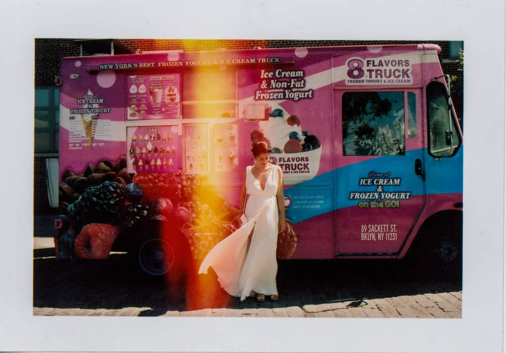 alternative bride in NYC posing in the ice cream truck