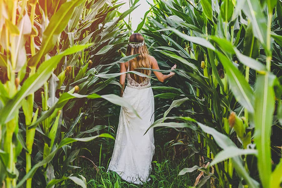 bride going deep in to the wild