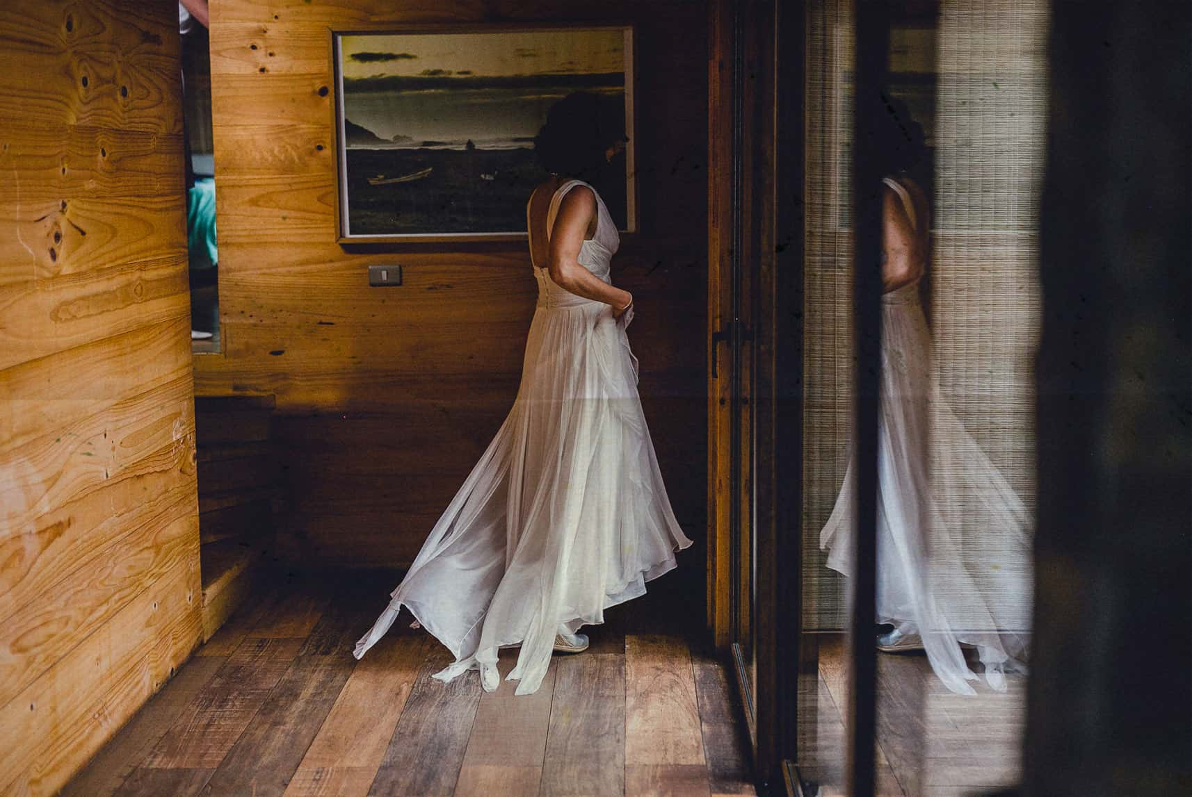 bride walking to her room