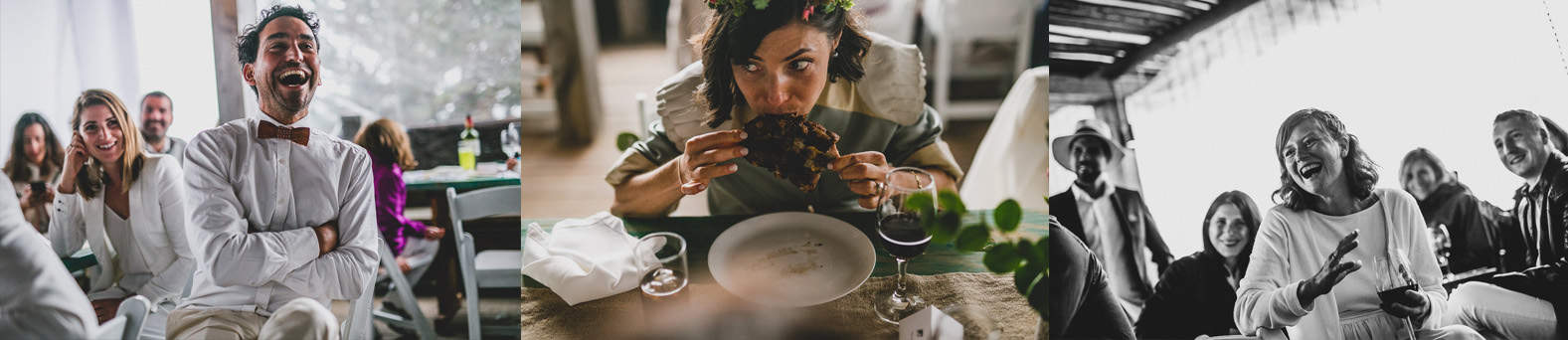 bride eating a piece of steak and people laughing