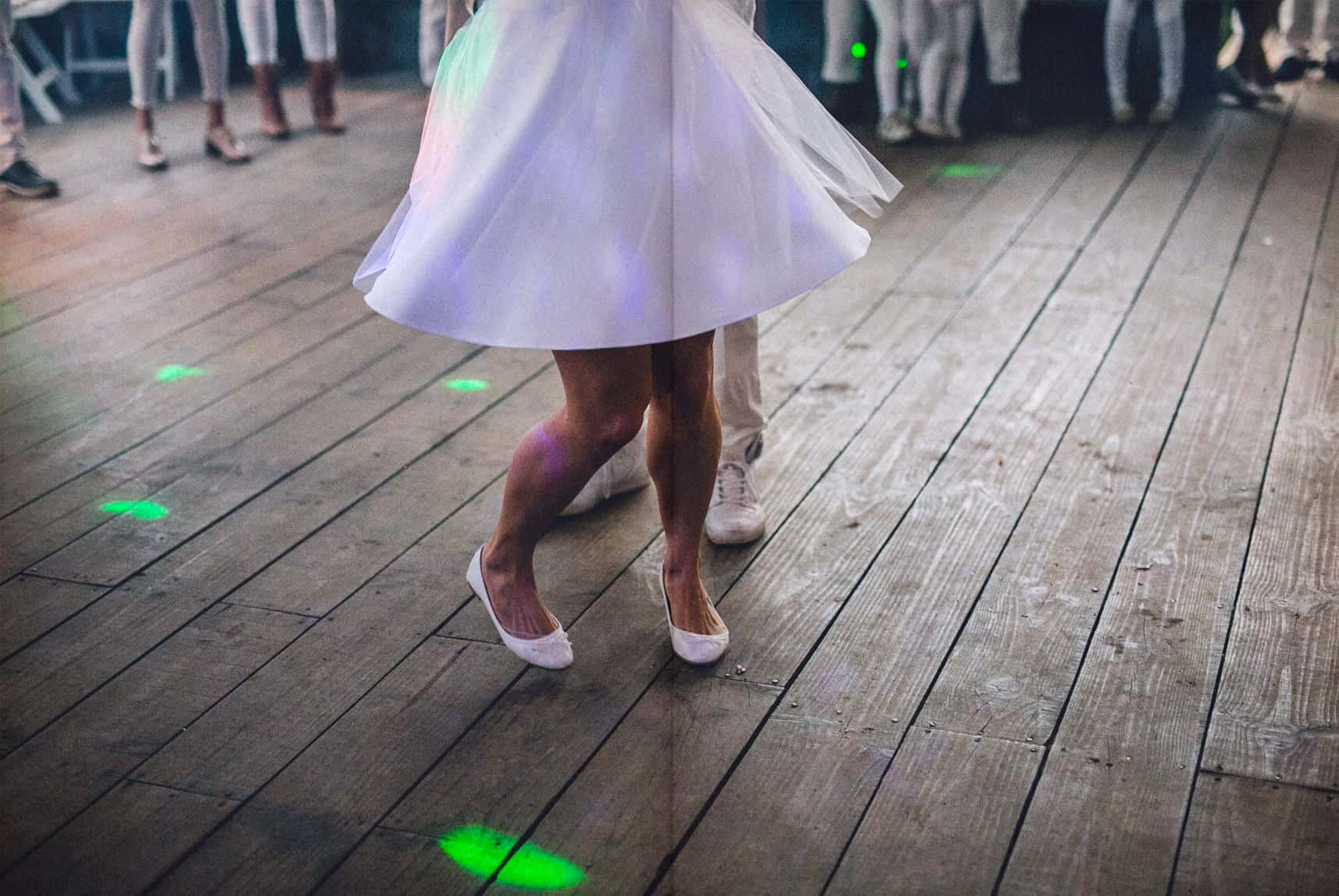 feet of the bride dancing
