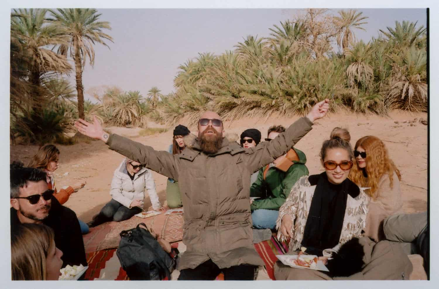 people having fun in a oasis in morocco
