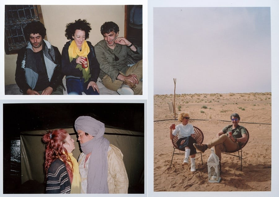collage of people in the desert hunging around