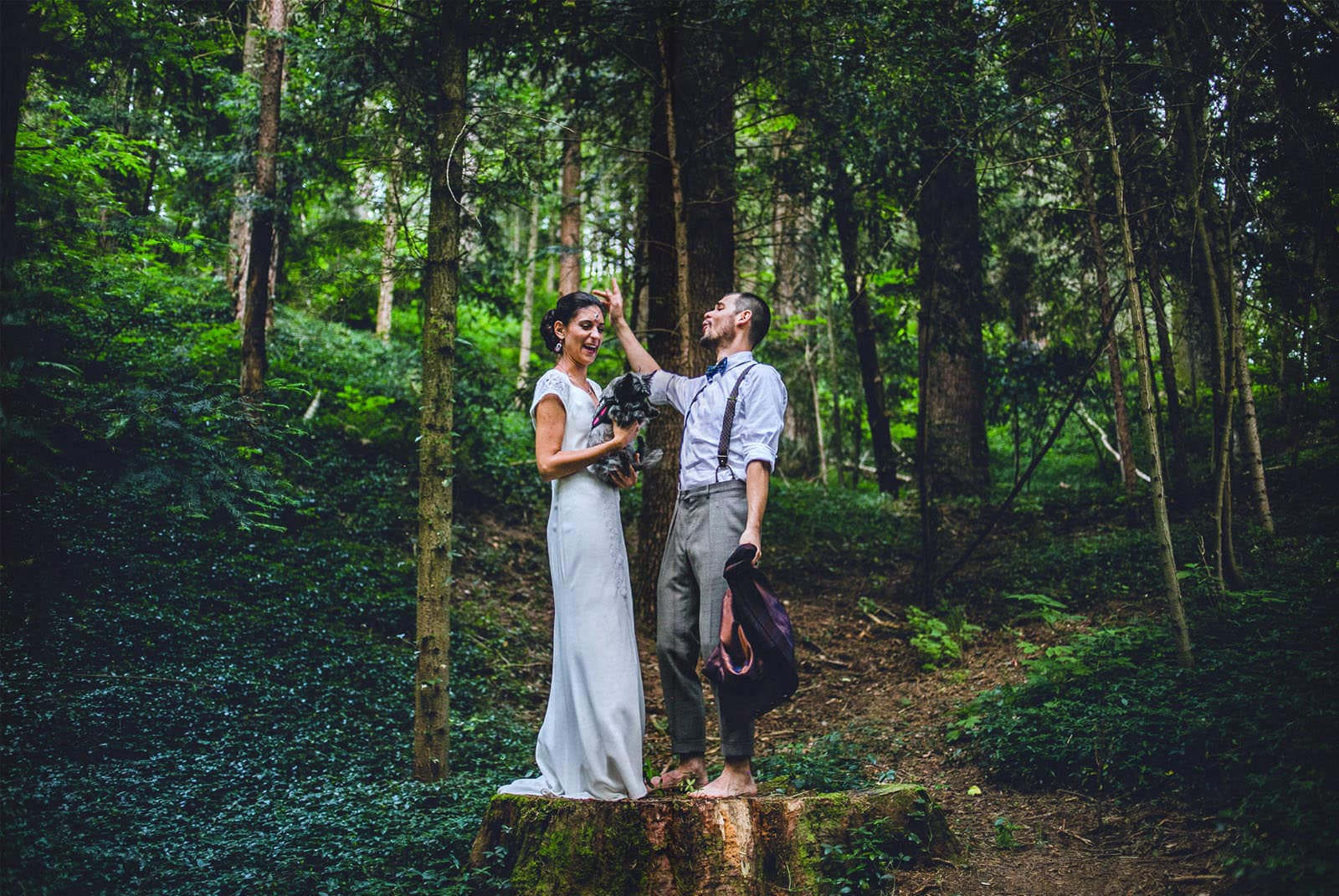 bride and groom portrait session in the wood