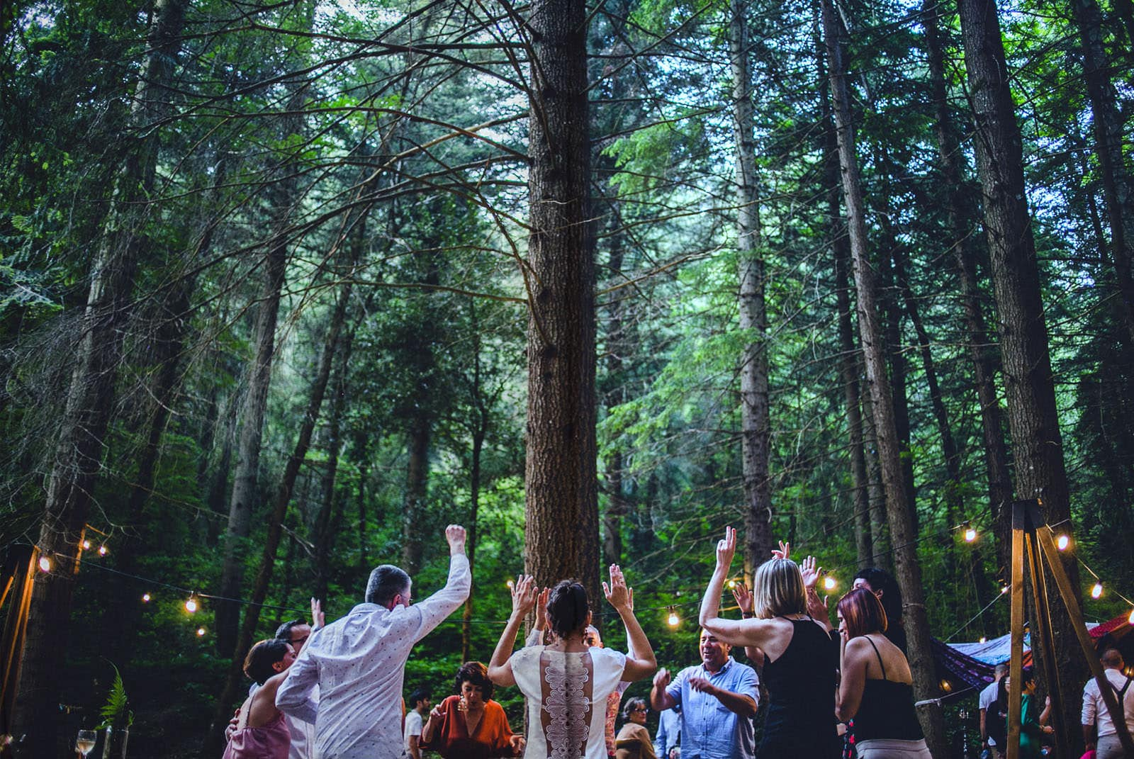people dancing in the forest