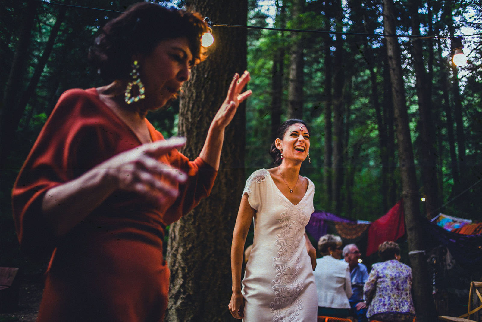 bride dancing in the forest