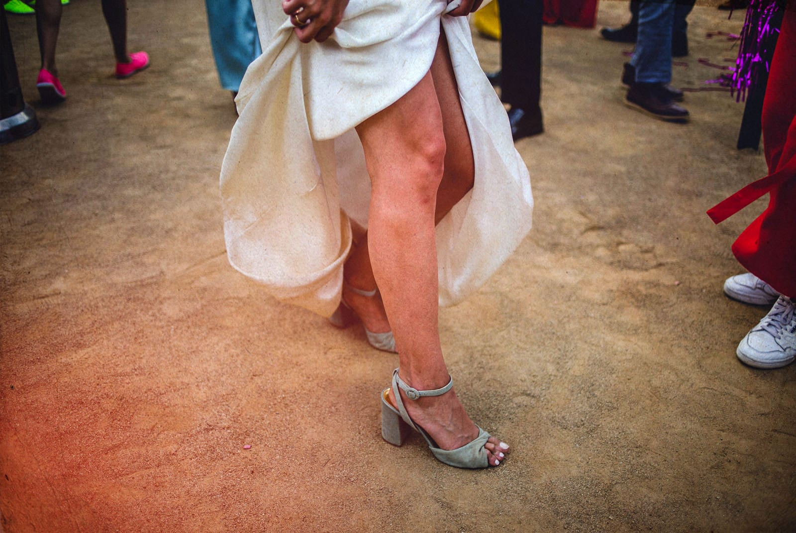legs of the bride dancing