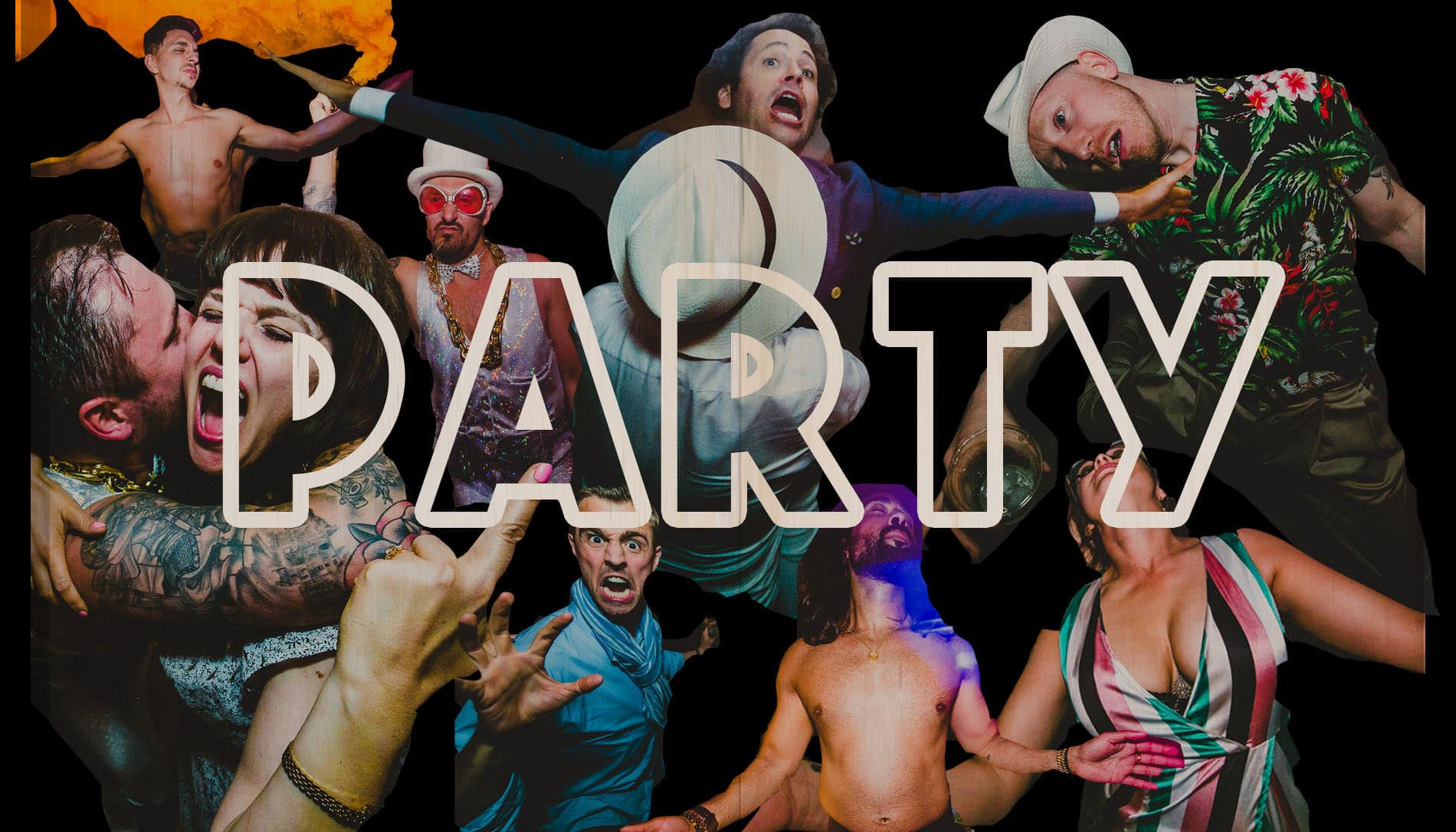 crazy party collage