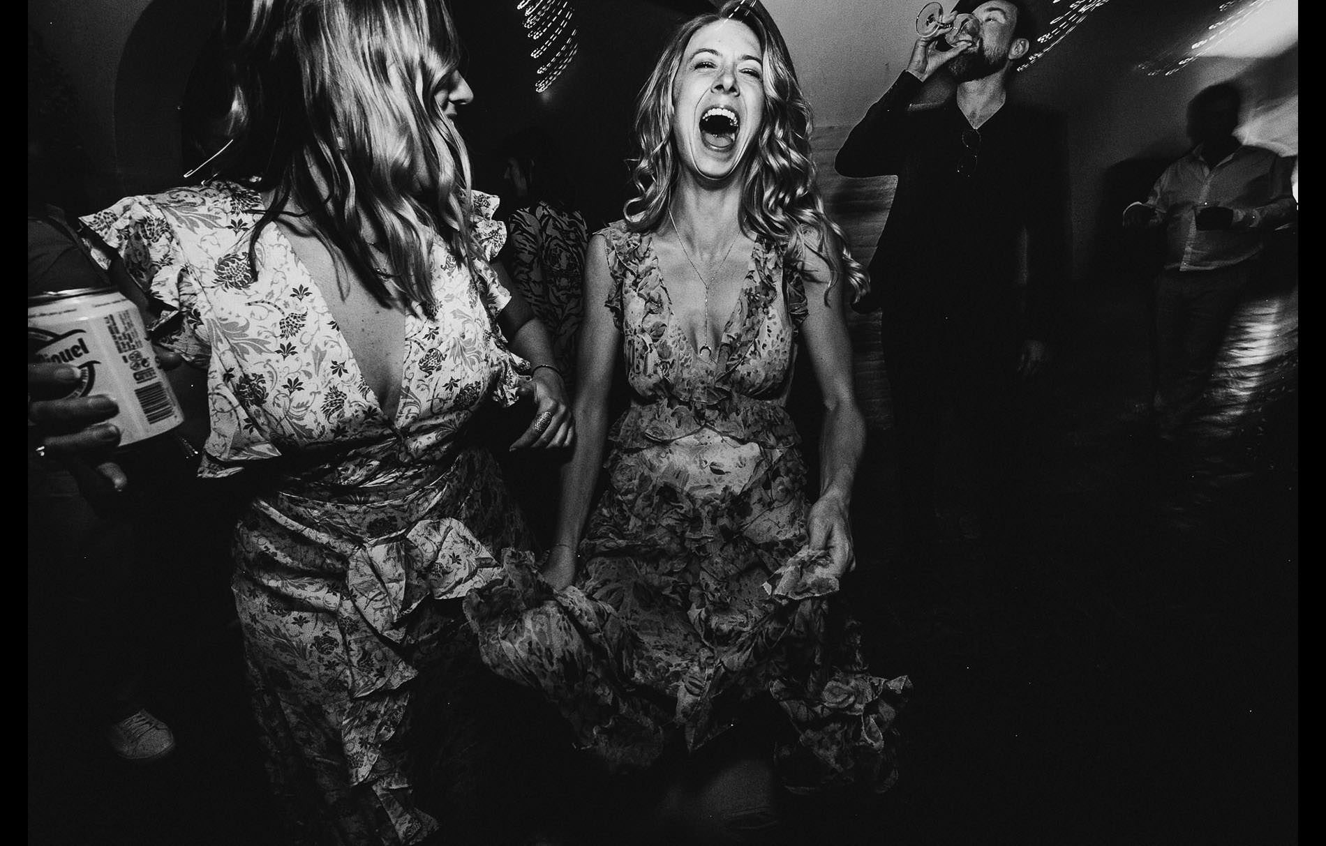 bride screaming in the wedding party