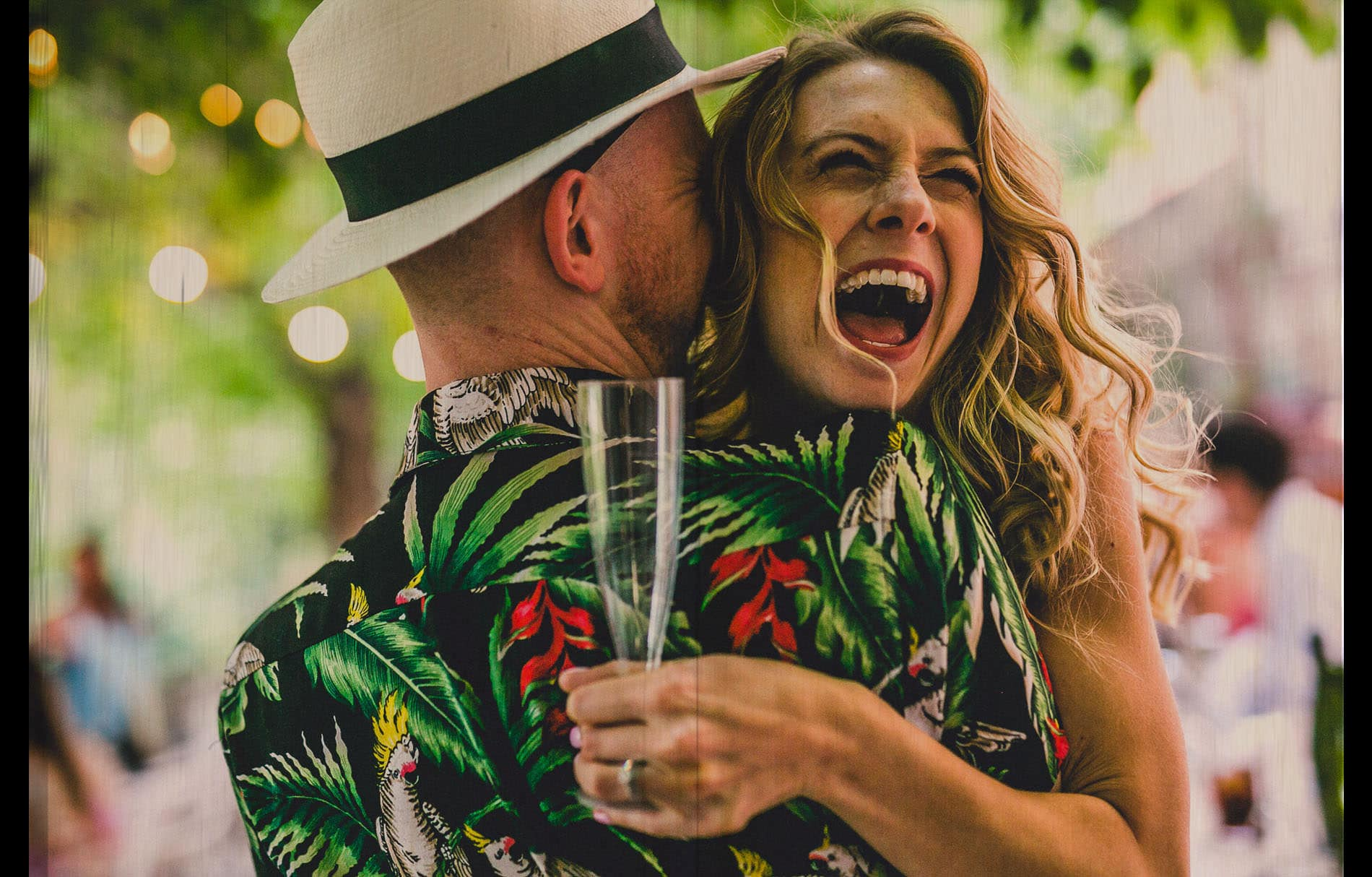 bride laughing with open mouth