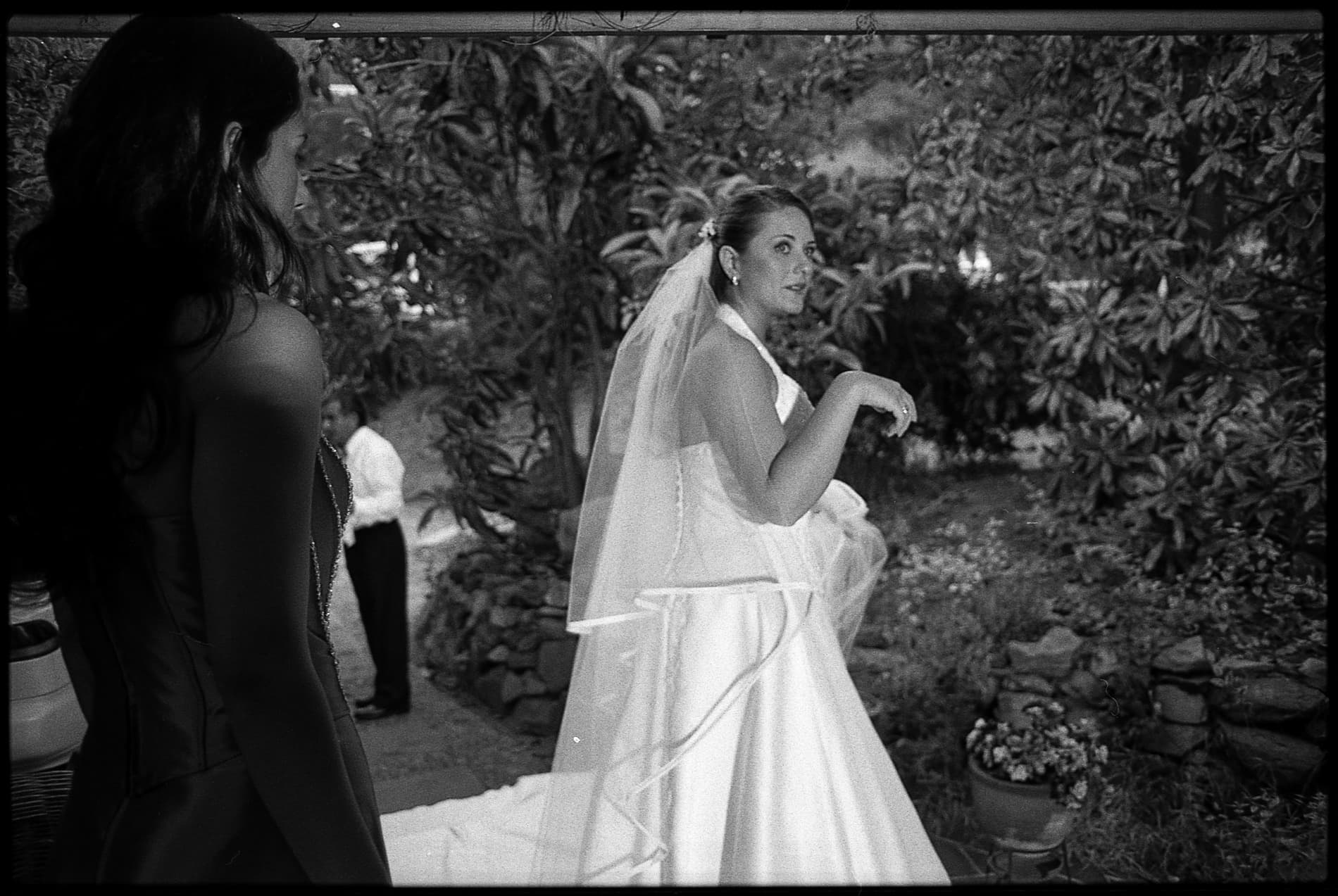 bride before the wedding ceremony in analogue
